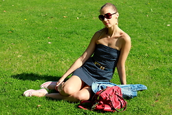 Karolina - Diy Dress, Vintage Belt, H&M Denim Shirt, Love Moschino Bag, Converse Trainers - Polka dot