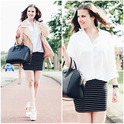 Alexandra H - Givenchy Antigona Bag, New Look White Blouse, H&M Striped Skirt, Primark White Block Heels, Every Day Counts Suede Biker Jacket, Daniel Wellington Classic Sheffield Lady Watch - The White Blouse