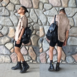 Balthazar Interrupted - Guess? Leather Backpack, Dr. Martens Beat Up Boots - Just Like Honey