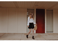 Kirby C - Ray Ban Sunglasses, American Gold Top, Vintage Purse, Reformation Skirt, Isabel Marant Ankle Boots - No. 9