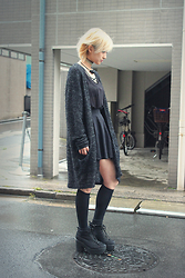Chiemi Ito - Monki Cardigan, Monki Top, Lowrys Farm Shoes - Black streets