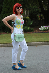 Jamie Rose - Forever 21 Donut Print Bodysuit, Boohoo White High Waisted Jeans, Xappeal Blue Wedges, Brit Stitch Mint Green Satchel Bag - Donut Print