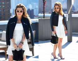 Katie Miller - Mystic White Dress, H&M Moto Jacket, Mary Lai Mies Mini Bag - When in White