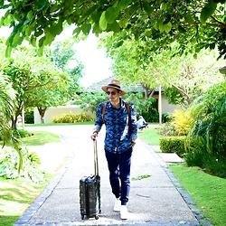 The Filo Dapper - Penguin Button Down Shirt, Bench Jogger Pants, Adidas Stan Smith, Aldo Hat, Aldo Sunglasses, Travelex Mini Luggage - Camo Weekend