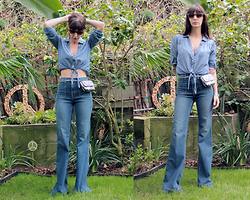 ASH - J Brand Wide Leg Jeans, Vintage Belt Bag, H&M Chambray Top - 70's Denim