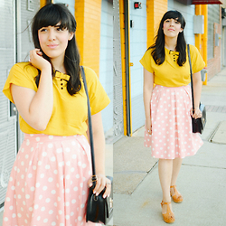 Carla Thompson - Pepaloves Yellow Bow Dress, Modcloth Pink Polka Dot Skirt, Swedish Hasbeens Lacy Sandals - Different Colors