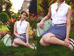 Julie Đặng - Brooks Brothers Petite Ruffle Collar Sleeveless Dress Shirt, Brooks Brothers Patent Leather Belt, Francesca's Cross Stitch Mini Skirt, Kate Spade Wellesley Durham, Aldo Stretch Flats - The Little Matters