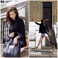 Gabriella Kovari - H&M Black Leather Tote Bag, Style Moi Collarless Tailored Blazer With Sharps Shoulder, Style Moi Open Back,Drop Shoulder Jersey Top In Black, Terranova White Denim Shorts, Zara Black And Brown Strappy Ankle Strap Flat Sandals - Always late
