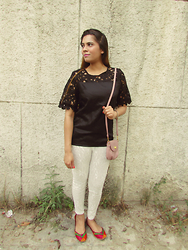 Pooja Mittal - Dressgal White Pencil Pants, Dressgal Cutwork Top - Every Summer Fashion : Pencil Pants