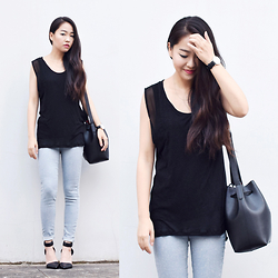 Meijia S - American Vintage Black Top, Cheap Monday Jeans, Alexander Wang Heels, Daniel Wellington Watch - Love as much as you live
