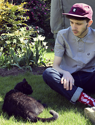 David Whitfield - Patta Cap, Fred Perry Bradley Wiggins Check Shirt, Levi's® Levis 511, Alife Socks, Prada Cat - Summer Cat