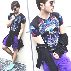 Christian Salonga - Zara Skull Tee, Forever 21 Mint Chain, H&M Black Jacket With Leather Appliqués, Puma Mint Suede Sneakers, H&M Purple Shorts, Ray Ban Aviators - Skull Candy