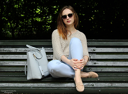 Kasia Brzozowska - Accessorize Bag, Pat Calvin Flats, Zara Trousers, Massimo Dutti Sweater, Primark Eyewear, Black&Sigi Jewelry - Pastel colours
