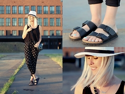 Merel - H&M Hat, H&M Singlet, H&M Pants, Bought In Florence Shoulder Bag, Birkenstock Flip Flops - WILL YOU FOLLOW ME HOME