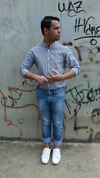 DIEGO GiL - Pull And Bear Shirt, Chevignon Regular Fit Jeans, Zara White Sport Shoes - Summer fresh look!