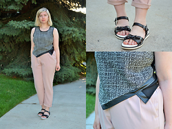 Elizabeth Claire - Tj Maxx Grey And Black Tank, Tj Maxx Pastel Pink Trousers, Target Black And White Sandals - Sigh of Relief