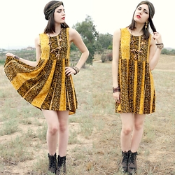 Lexi L - Minkpink Animal Print Dress, Thrifted Wooden Animal Necklace, Ariat Roper Boots - The Offbeat