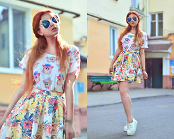 Daphny Might - China Glasses, H&M Cute Top, Mohito Skirt, Creepers - Summer boom