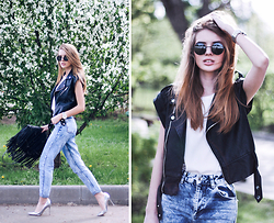 Tatiana Vasilieva - Bershka Leather Jackey, Topshop Mom Jeans - Rock the Summer