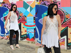 Elisa Cesarini - Shein Top, Subdued Jeans, Giuseppe Zanotti Sandals, Piazza Italia Backpack, Piazza Italia Sunglasses - Rocker lace