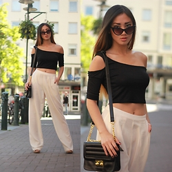 Louise Xin - Nasty Gal Crop Top, Kappahl Wide Legs Pants, Rebecca Stella For Nelly Cateye Sunglasses - Summer day