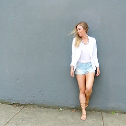 Christie Lohr - Hollywood Boutique Light Wash Cut Offs, Le Chateau White Blazer, Olive + Piper Necklace - Cut-offs and sparkles