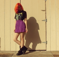 "Michelle Blue - Goodwill Vintage Band Tee, Mossimo Hugh Waisted Skater Skirt, Combat Boots - ""Lose Small Mind"""