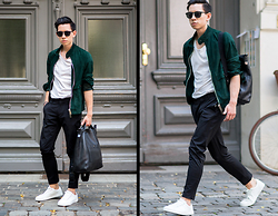 Frank Lin - Bally Green Suede Jaacket, Zara White Shirt, Saint Laurent Sunglasses, Tiger Of Sweden Black Pants, Zara White Sneakers, Mulberry Black Leather Bag - MBFWB outfit day two / IG @frank_lin_de