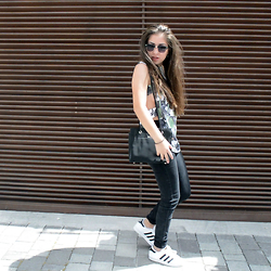 Andrea P - Dearone Blouse, Adidas Superstars, Calvin Klein Bag - July No. 1
