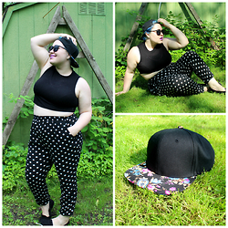 Bridie D. - Boohoo Crop Top, Forever 21 Harem Pants, Bk Caps Snapback - BAD HAIR DAY