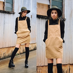 Isabella Wight - Supre Hat, Boohoo Pinafore, Minkpink Top, Shellys London Boots - SCHOOLGIRL