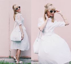 Chloe From The Woods - Sheinside White Dress, Parfois White Bucket Bag, Zerouv Oversized Sunglasses - Wes Anderson