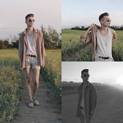 Andrew Eirich - Thrifted Oversized Shirt, Topman Top Man Vest, Zara Shorts, Zara Suede Moccasins - Suddenly Summer.