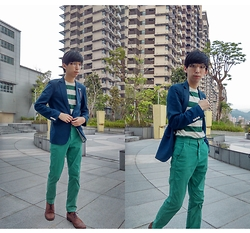 FL JU - Nihow Blazers, Topman T Shirt, H&M Chinos, River Island Shoes - GREEN