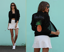 Emily - OuiiDistrict O|D Style - Forever 21 Sunglasses, Brijor Boutique Pineapple Jacket, H&M White Skirt, Nike Airforce 1 - Pineapple Paradise