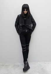 Michelle K - Asos Leather Waterfall Front Jacket, Asos Nose Ring, Blank Nyc Multi Knee Zip Skinny Jeans, Unif Daria Boots - No Rest For The Wicked