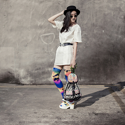 Ren Rong - We Love Colors Splash Color Thigh Highs, Zalora Shift Dress, Accessorize Swallow Belt, Taobao Platform Sandals - A Splash of Color