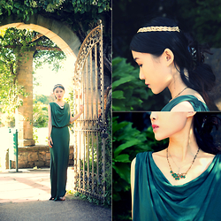 Jasmine L - Anthropologie Draped Emerald Maxi Dress, Cor Date Crystal Branch Necklace - Emeralds and Golden Suns