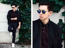 Frank Lin - Bershka Blue Suede Jacket, Ted Baker Flower Print Polo, Topman Sunglasses, Cos Blue Pants, Zara White Sneakers - MBFWB outfit day three / IG @frank_lin_de