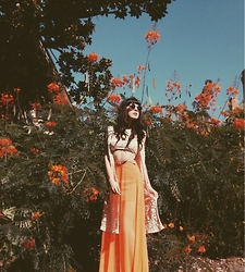 Storm Calysta - A'gaci Orange Mesh Maxi Skirt, Montage Calysta Sunnies - Orange