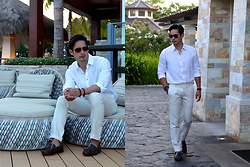 The Filo Dapper - Zara Linen Shirt, Zara Linen Pants, Aldo Sunglasses, Hill And Deer Loafers - Happy Hour