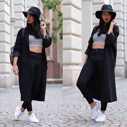 Diana B. - Topshop High Waist Jeans, H&M Crop Top, Edited Coat, Forever 21 Hat, Adidas Sneaker - All in black