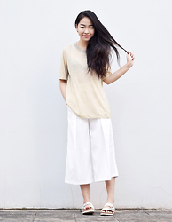 Meijia S - Theory Camel Top, Online Pants, Birkenstock White - Couldn't be happier