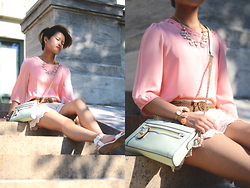 Julie Đặng - Steve Madden Nevrstp Wedge, Rebecca Minkoff Mini Crosby Crossbody, Romwe Pink Gemstone Gold Leaves Chain Necklace, Hand Me Down Lattice Blouse, Hand Me Down Crochet Shorts - To Love and Relove