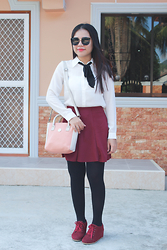 Sarah Rizaga - Large Lens Sunglasses, Sheinside Long Sleeve Chiffon Blouse, Shein Wine Red Skirt - Wine Red Preppy