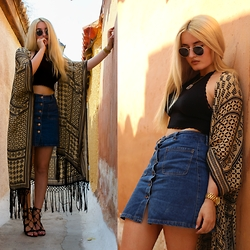 Valia Kas - Pull & Bear Foulard Kimono, Pull & Bear Open Back Knitted Top, Pull & Bear Button Front Denim Skirt, Zara Lace Up Sandals, Ray Ban Round Metal, Michael Kors Runway Gold Tone Chronograph Watch - Bohemian Greek Dream