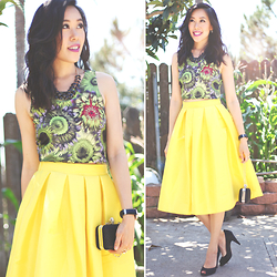 Sherry Lou - Sherry Lou Studio Yellow Skirt, Target Top, Sherry Lou Studio Clutch, H&M Necklace, Glint Heels - Full Circle