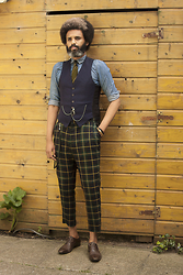 Dualleh Abdulrahman - Wilbert Diy Dark Blue Waiscoat, Cos Denim Shirt Diy, Tommy Hilfiger Golf Pants, Valdasaar Dark Brown Shoes - Summer ootd 2