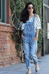 Lucia Mouet - Zara Top, Abercrombie Overall - Overalls And Off The Shoulder Top