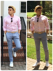 Velter Aleko C. - Messagerie Chinos, Brooksfield Belt, Brooks Brothers Oxford Shirt, Barney's New York Lace Up Brogues, Dolce & Gabbana Fedora, Burberry Sunglasses, Triwa Watch - Real Southern Proper